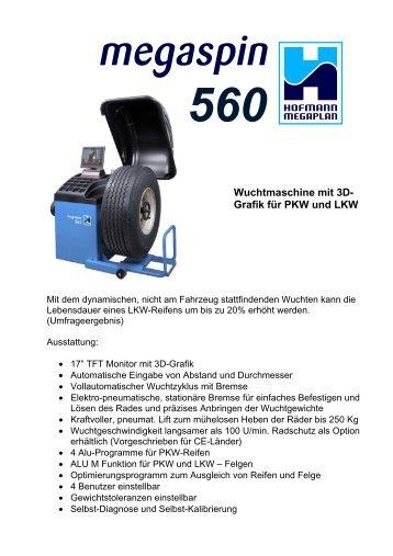 Wuchtmaschine mit 3D- Grafik für PKW und LKW - Hofmann Megaplan