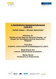 Handout zum Workshop - Ganztägig Lernen - Saarland