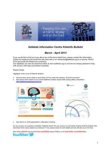 Safekids Information Centre KidsInfo Bulletin March - April 2013