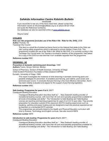 Safekids Information Centre KidsInfo Bulletin