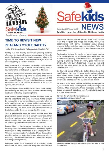 TIME TO REVISIT NEW ZEALAND CYCLE SAFETY - Safekids