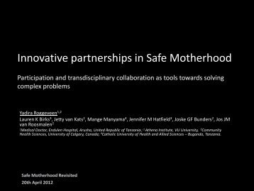 Innovative partnerships in Safe Motherhood - Working Party on ...