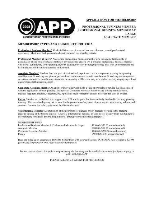 Application For Membership Professional Business Member