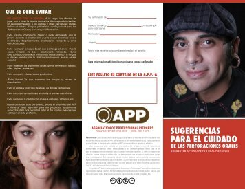 sugerencias para el cuidado - Association of Professional Piercers