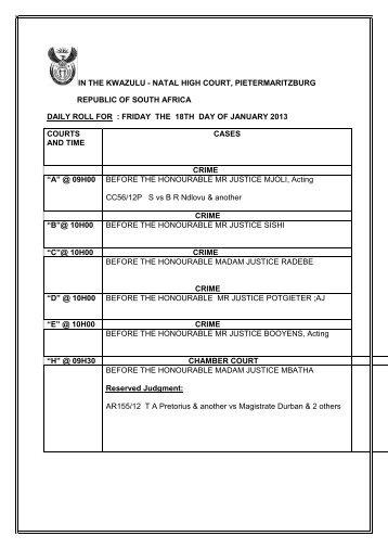 Kwazulu Natal High Court (Pietermaritzburg) - Saflii