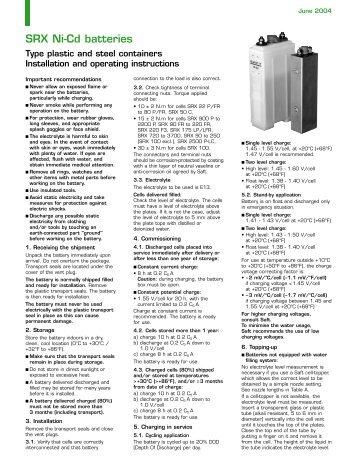 SRX Ni-Cd batteries - Saft