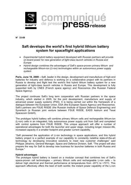 Saft develops the world's first hybrid lithium battery