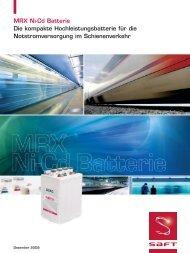 MRX Ni-Cd Batterie Die kompakte Hochleistungsbatterie für ... - Saft
