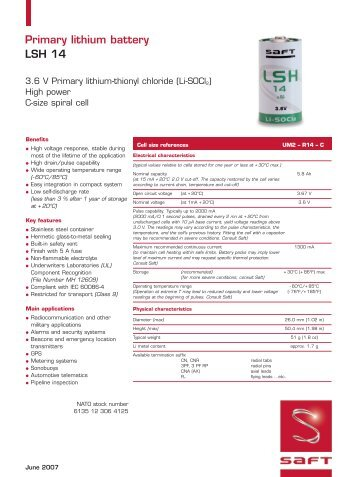Primary lithium battery LSH 14 - Saft