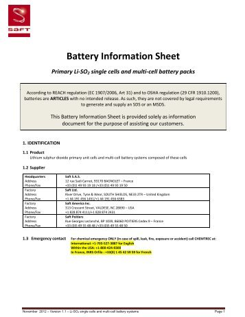 Battery Information Sheet Primary Li-SO2 single cells and multi ... - Saft