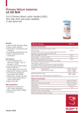 Primary lithium batteries LO 29 SHX - Saft