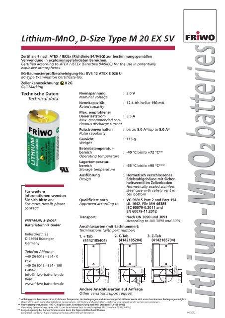 Lithium-MnO D-Size Type M 20 EX SV - Saft