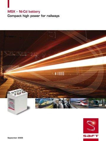 MSX – Ni-Cd battery Compact high power for railways - Saft