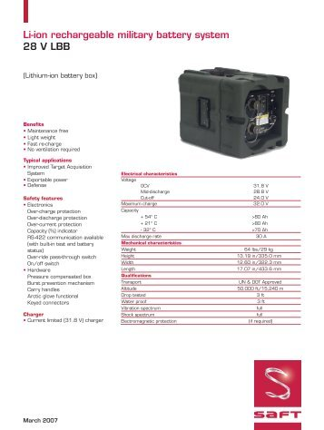 Li-ion rechargeable military battery system 28 V LBB - Saft