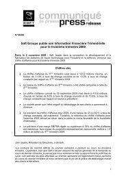 Saft Groupe publie son Information Financière Trimestrielle pour le ...