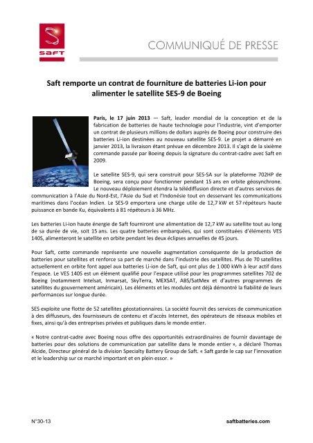 Saft remporte un contrat de fourniture de batteries Li-ion pour ...