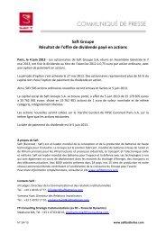 Saft Groupe Résultat de l'offre de dividende payé en actions