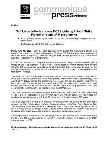Saft Li-ion batteries power F-35 Lightning II Joint Strike Fighter ...