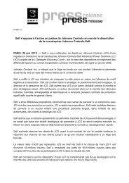 Saft s'oppose à l'action en justice de Johnson Controls en vue de la ...