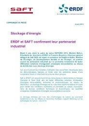 ERDF et SAFT confirment leur partenariat industriel