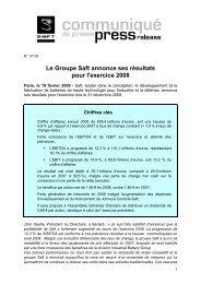 Le Groupe Saft annonce ses résultats pour l'exercice 2008