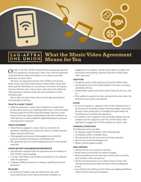 What The Music Video Agreement Means For You Sag Aftra