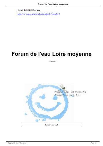 Forum de l'eau Loire moyenne - SAGE Cher aval