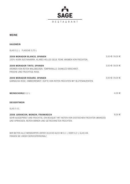 hAUSWEIN glas 0,1 l flasche 0,75 l 2009 ... - Sage Restaurant