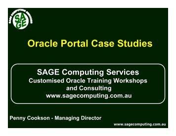 Oracle Portal Case Studies - SAGE Computing Services