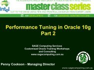 Performance Tuning Key Areas in 10g Part 2 - SAGE Computing ...