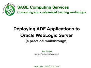Deploying ADF Applications to Oracle WebLogic Server - SAGE ...