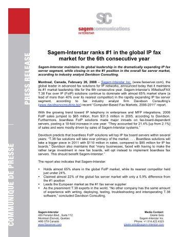 Sagem-Interstar ranks #1 in the global IP fax market for ... - Sagemcom
