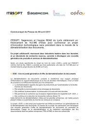 Communiqué de Presse du 08 avril 2011 ITESOFT, Sagemcom et l ...