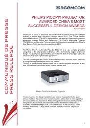 PHILIPS PICOPIX PROJECTOR AWARDED CHINA'S ... - Sagemcom