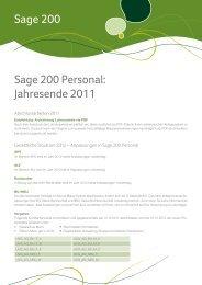Sage 200 Sage 200 Personal: Jahresende 2011 - Sage Schweiz AG
