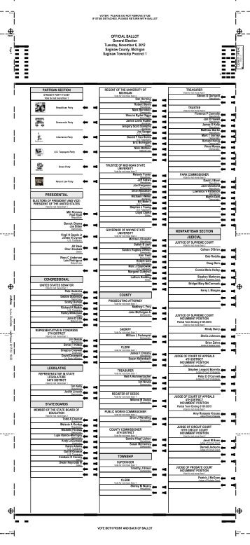 OFFICIAL BALLOT General Election Tuesday ... - Saginaw County