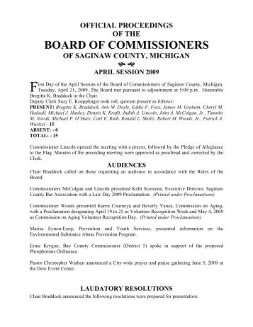 OFFICIAL PROCEEDINGS - Saginaw County
