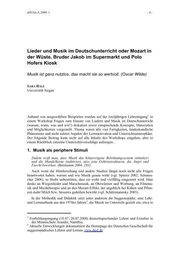 Lieder und Musik im Deutschunterricht oder Mozart in der ... - SAGV