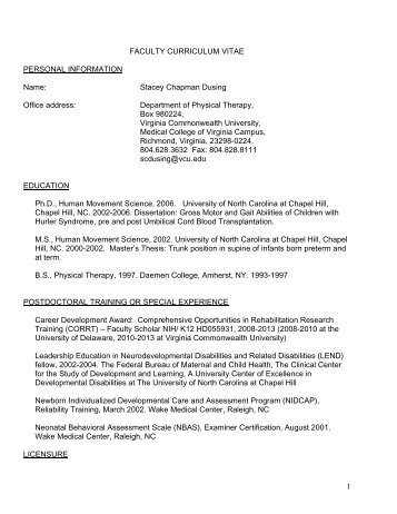 Curriculum Vitae - School of Allied Health Professions - Virginia ...