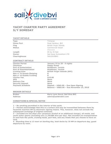 YACHT CHARTER PARTY AGREEMENT S/Y SOMEDAY - Saildivebvi