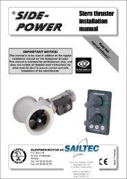 Stern thruster installation manual SIDE POWER - Osmotech