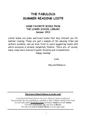 THE FABULOUS SUMMER READING LIST!!! - Saint Ann's School