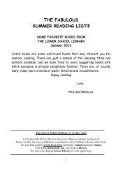 THE FABULOUS SUMMER READING LIST!!! - Saint Ann's School