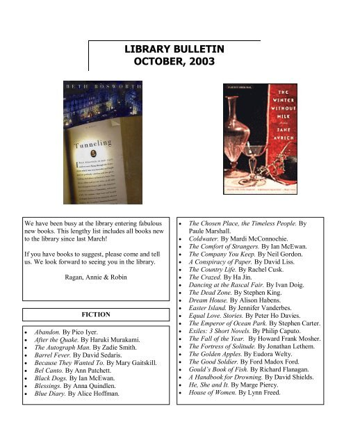 Library Bulletin - October 2003 PDF - Saint Ann's School