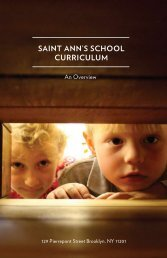 Saint Ann's School Curriculum - An Overview