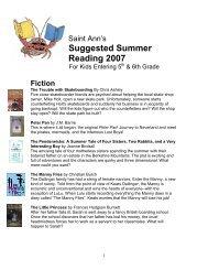 Suggested Summer Reading 2007 - Saint Ann's School