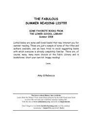 Summer Reading List 2008 - Saint Ann's School