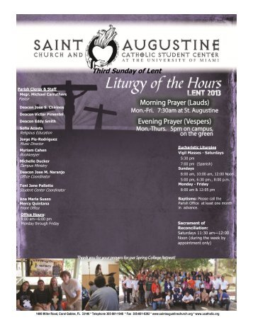Third Sunday of Lent - Welcome :: St. Augustine Church & Catholic ...