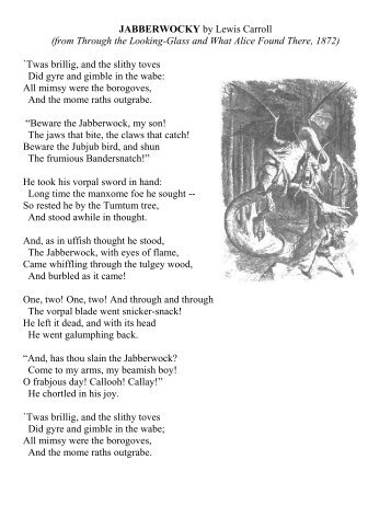 Poetry Lesson Plan - Jabberwocky by Lewis Carroll