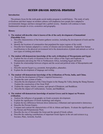 SIXTH GRADE SOCIAL STUDIES - Saint Catherine School